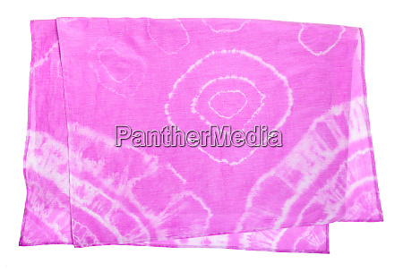 folded pink scarf with abstract pattern