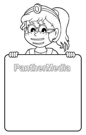 doctor holding blank panel monochrome image