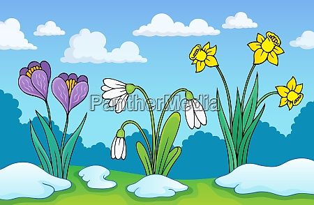 early spring flowers theme image 1