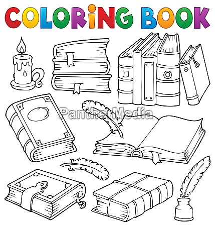 coloring book old books theme set