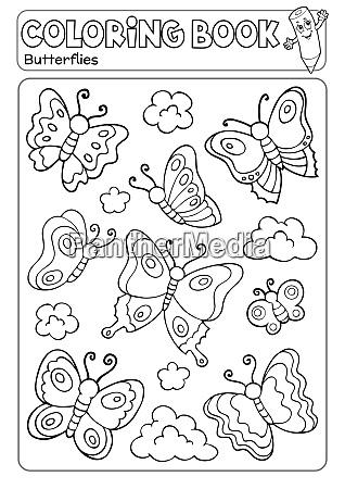 coloring book various butterflies theme 2