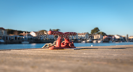 mooring hook and rope on a