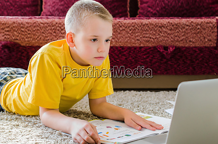distance learning online education schoolboy studying