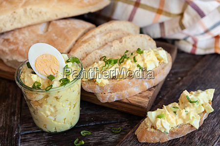 rustic bread with egg salad