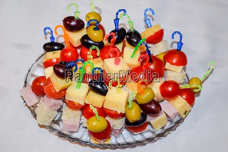 salad assorted on plastic sticks vegetables