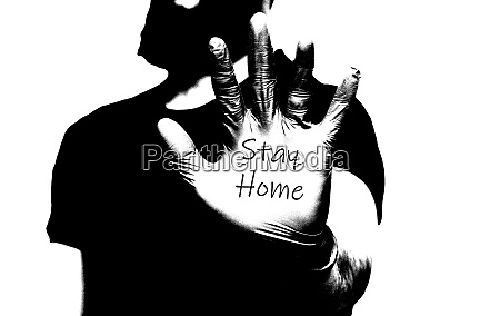 mans hand in blue medical gloves