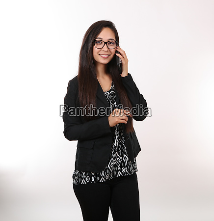 young woman taking a business call