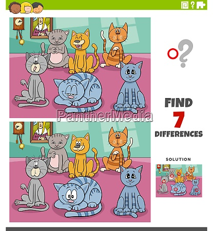 differences educational task with cartoon cats