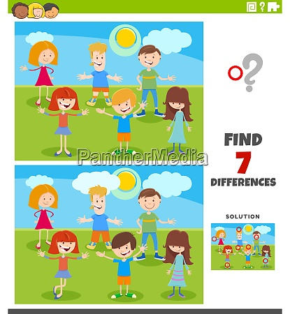 differences educational task with cartoon kids