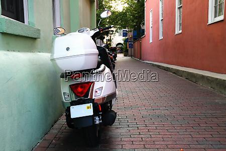 moped in alley