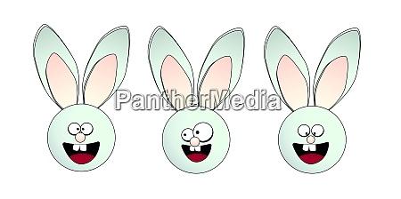 funny rabbits easter bunny vector illustration