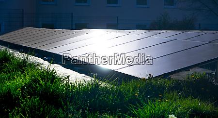 solar energy on grassland with light