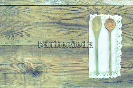 napkin with a wooden spoon on