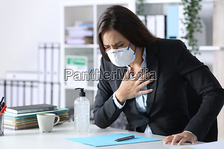 ill executive suffocating with hand on