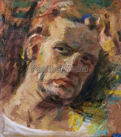 expressive man portrait oil painting sketch