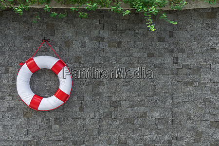 rescue buoy hanging on the wall