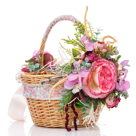 beautiful decorative basket with flowers for