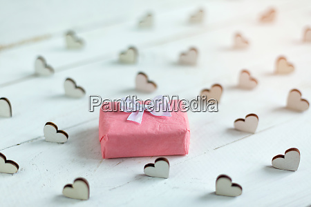 little gift wrapped in pink paper