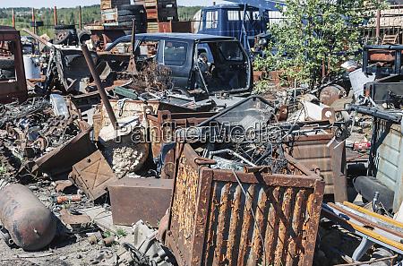 pile of rusty metal garbage on