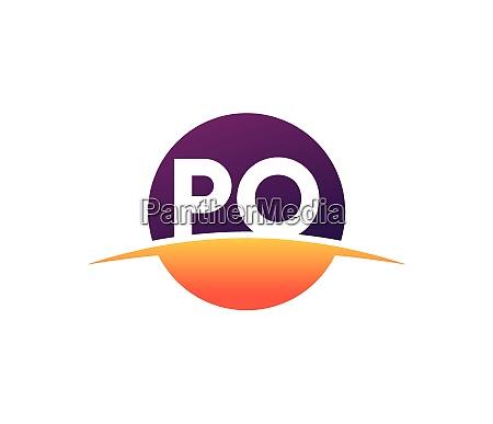 initial monogram letter p o