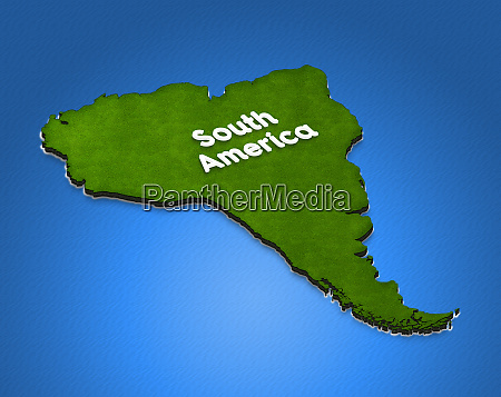 map of south america 3d isometric