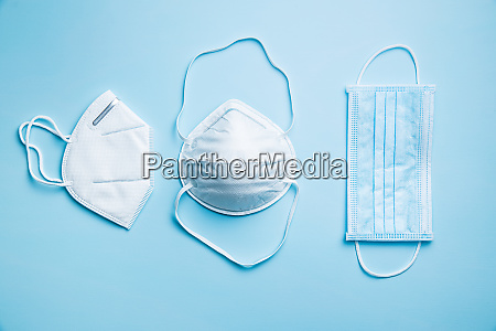 three different protection face masks coronavirus