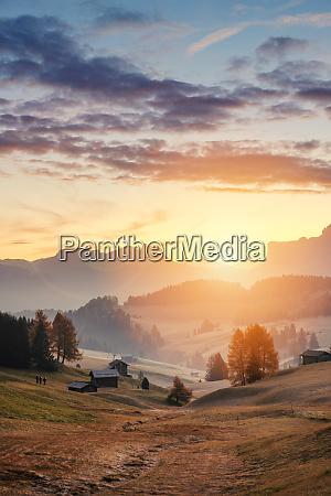 sunrise in alpe di siusi valley
