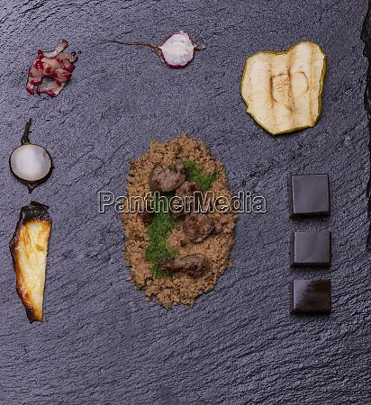 overview molecular gastronomy on black slate