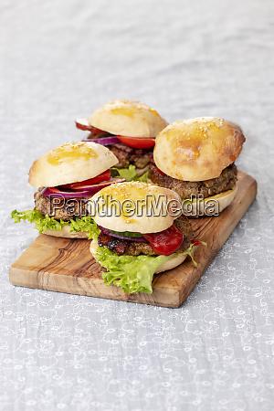hamburger burger four small food beef