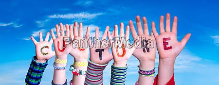 children hands building word culture blue