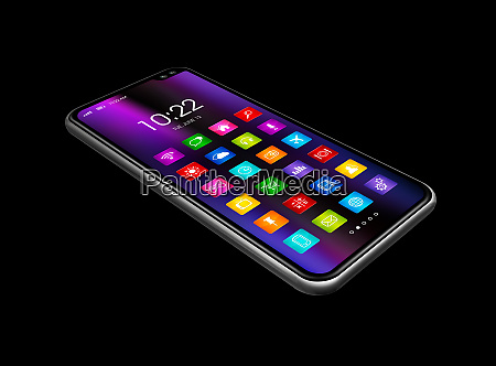 all screen smartphone with colorful icon