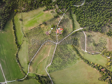 aerial view of tuscany roads figline