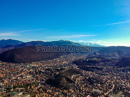 aerial view of brasov city romania