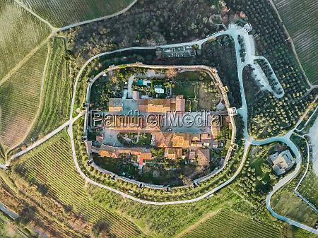 aerial view of monteriggioni tuscany italy
