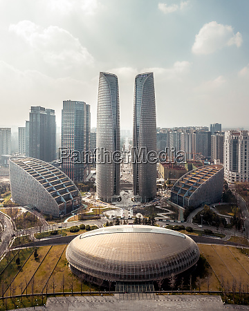 aerial view of tianfu international finance