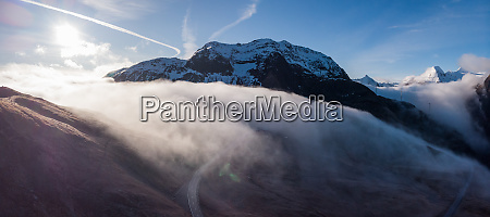 panoramic aerial view of clouds rolling
