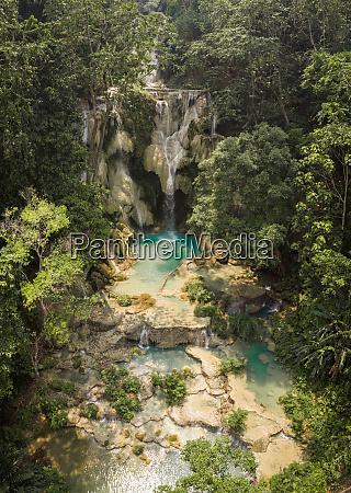 aerial view of kuang si waterfalls