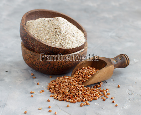 buckwheat flour in a bowl and