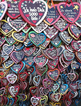 many colorful gingerbread hearts for the