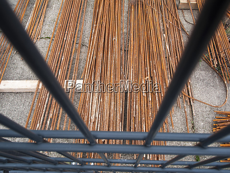reinforcing steel on a construction site