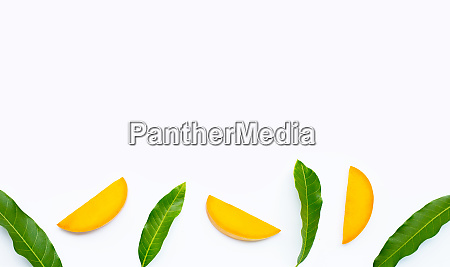 tropical fruit mango slices on white