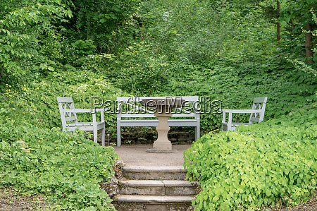benches and table in the park
