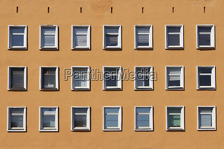 windows house building facade with many