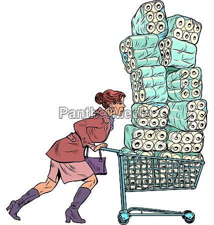 woman bought toilet paper panic coronavirus