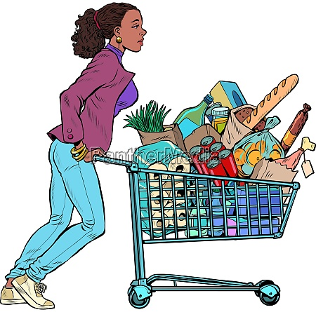 african woman with a full grocery