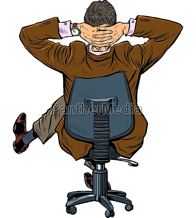 businessman resting in an office chair