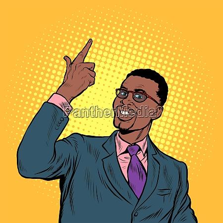 african confident businessman hand gesture