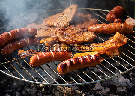 unhealthy but tasty grilled sausages and