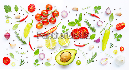 various fresh vegetables and herbs on