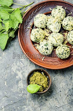 nettle curd dumplings